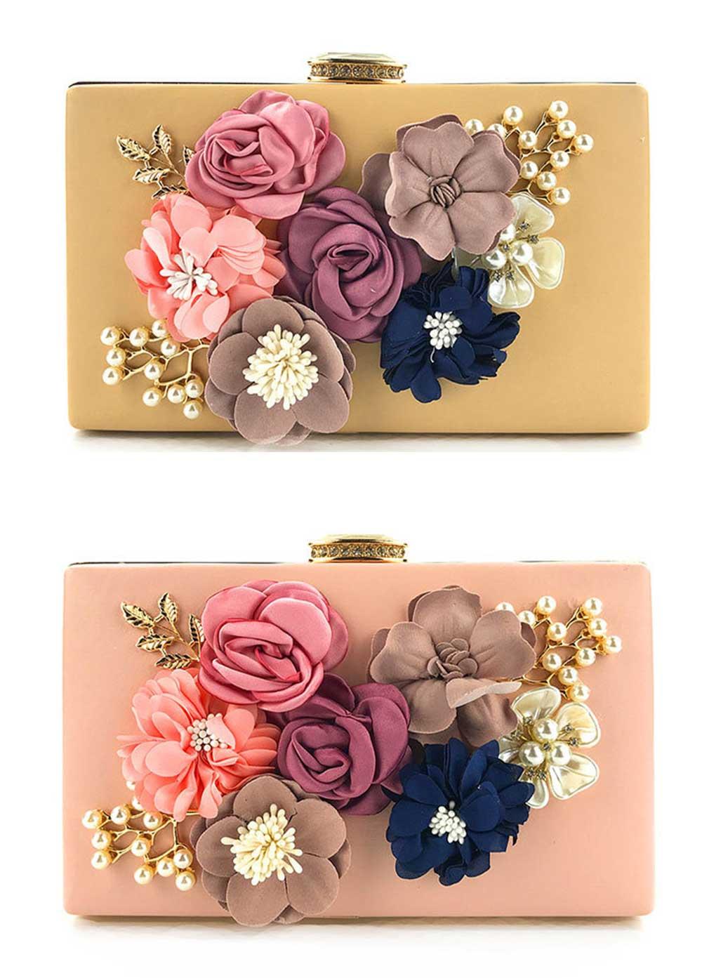 Ladies Shoulder Chain Floral Bag Ladies Evening Leather Clutch Bag 6