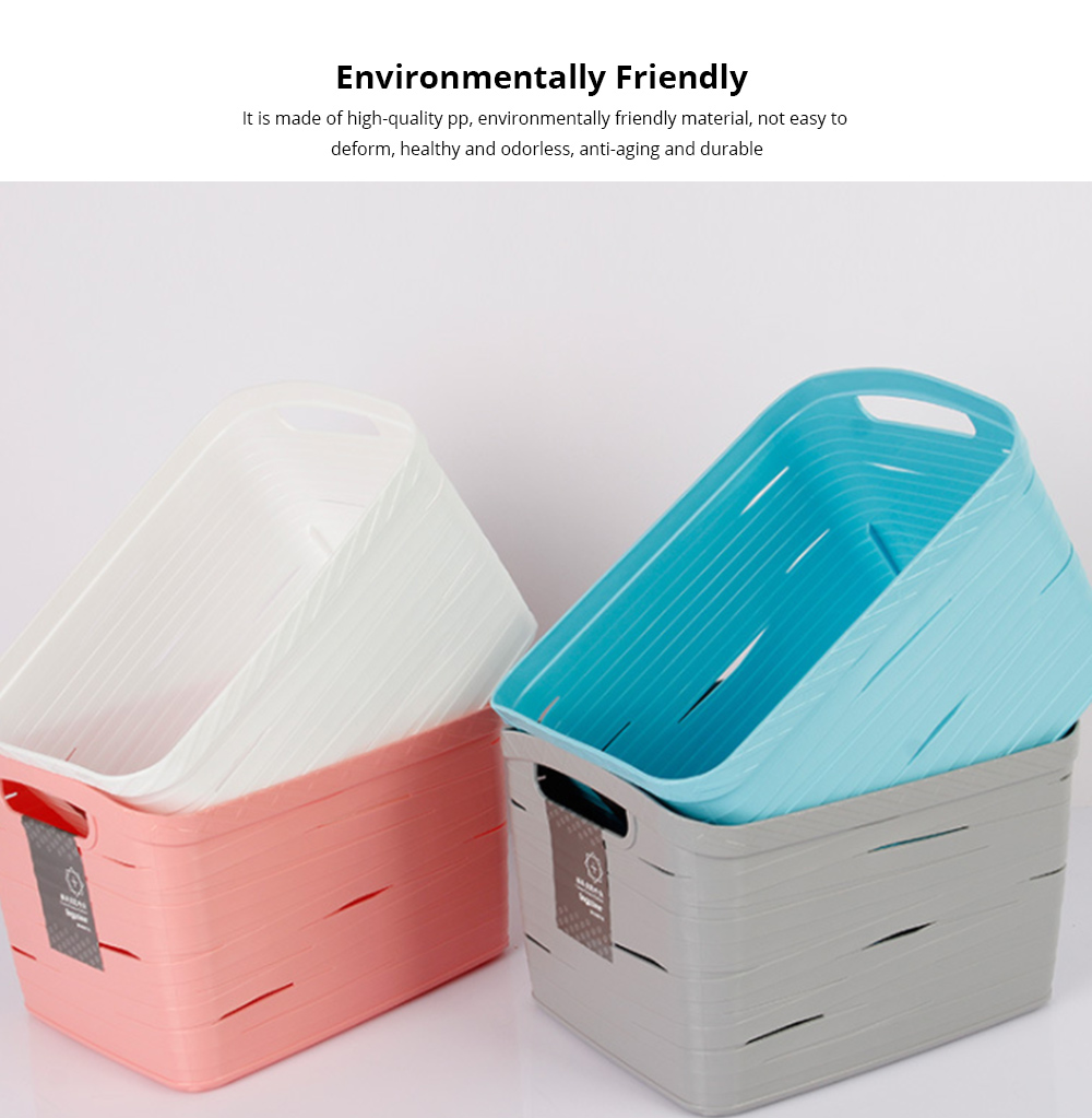 Plastic Storage Basket Square Plastic Storage Basket Laundry Basket Toy Basket Imitation Rattan Storage Container 1