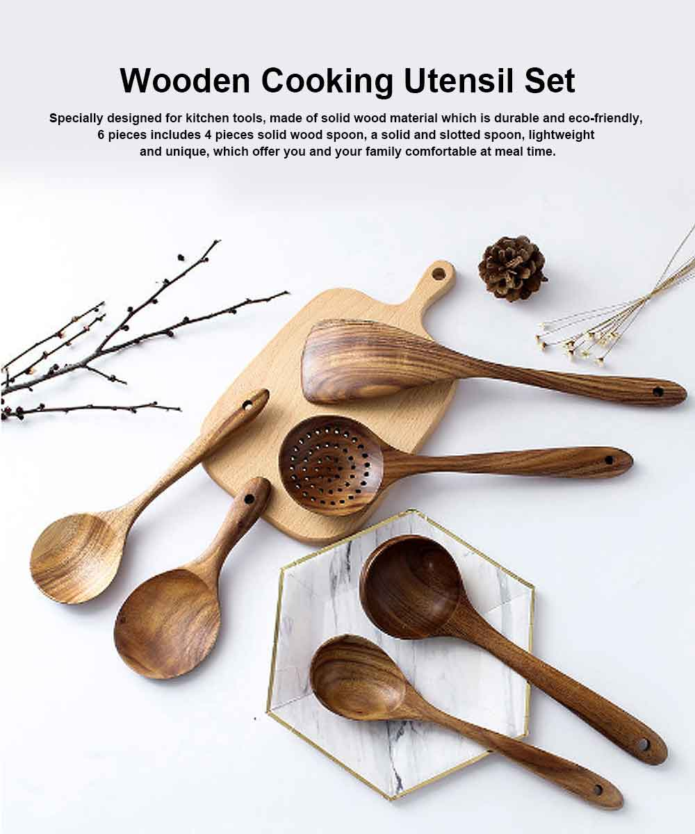 Healthy Cooking & Service 6-piece Utensil Set, Natural Solid Wood Spoon & Spatula, Durable and Eco-friendly Kitchen Tools 0