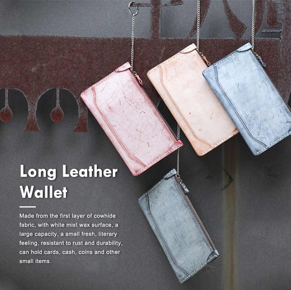 2019 New Long Wallet Vintage Handmade Vegetable Tanned Ladies Clutch, Real Leather Fog Wax Wallet 0