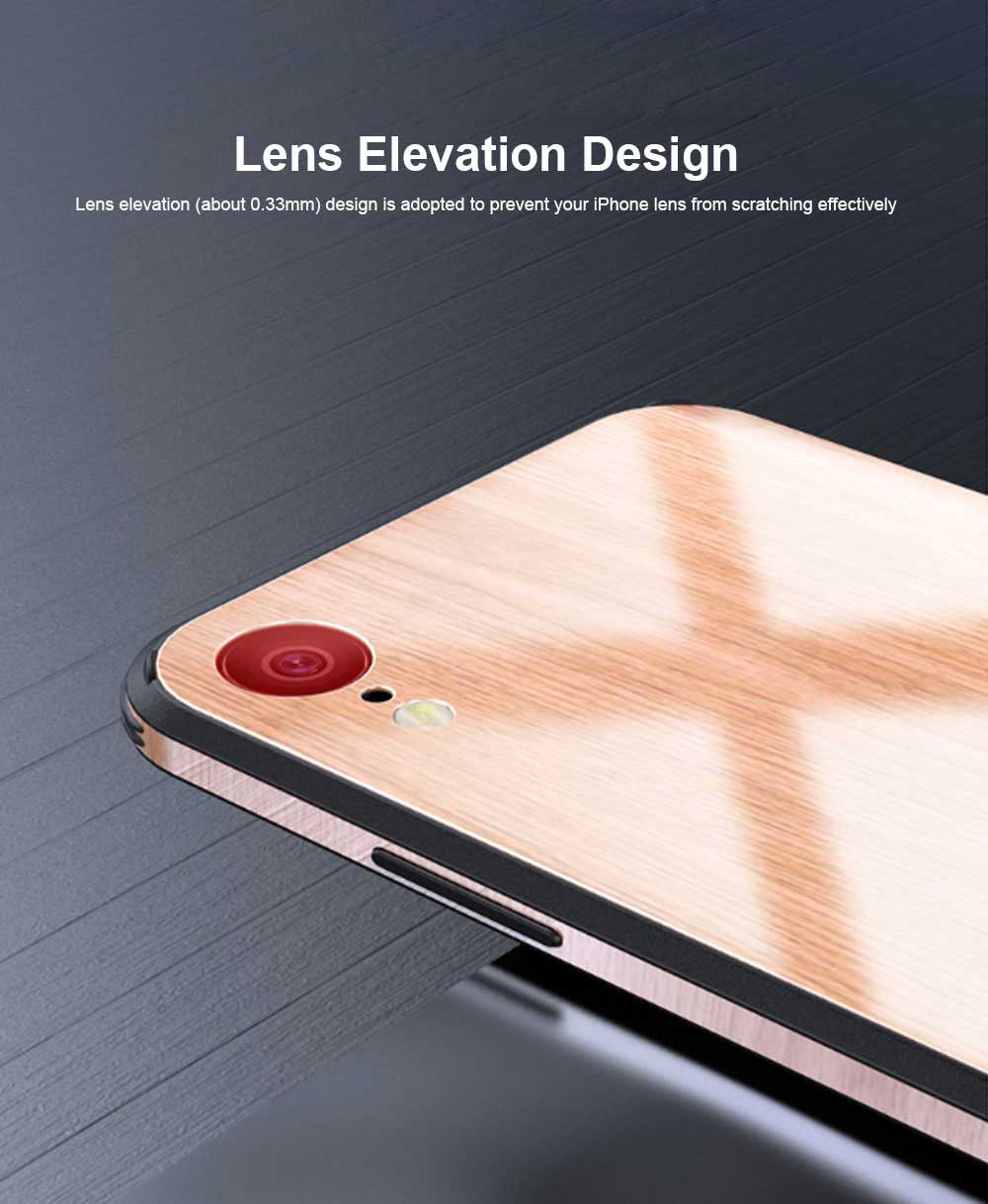 Wood Grain with Tempered Glass Phone Case Compatible for iPhone X/XS/MAX/7/8/7P/8P, Anti-impact Tempered Glass Phone Case Wood Grain Protective Phone Cover 5