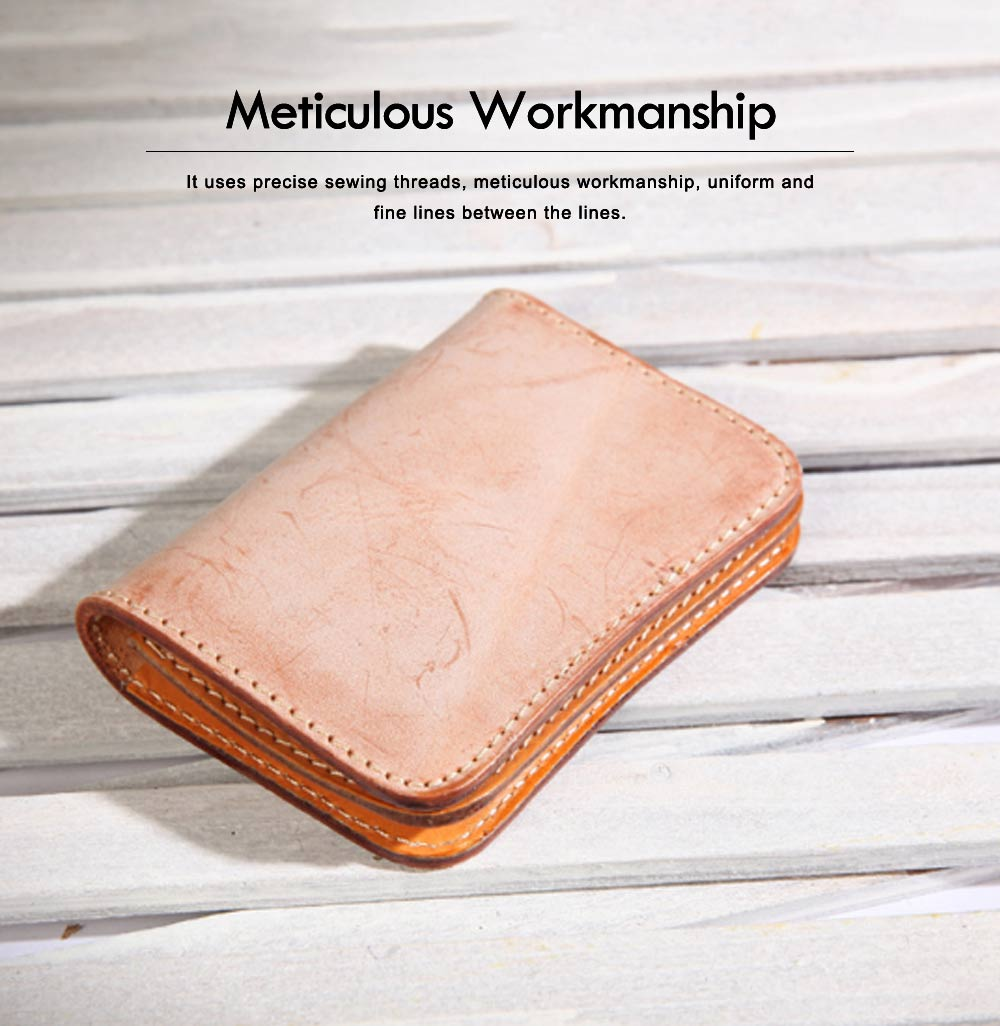 2019 New Vegetable Tanned Leather Card Bag, Japanese Style Female Coin Purse, Handmade Leather Card Holder 2