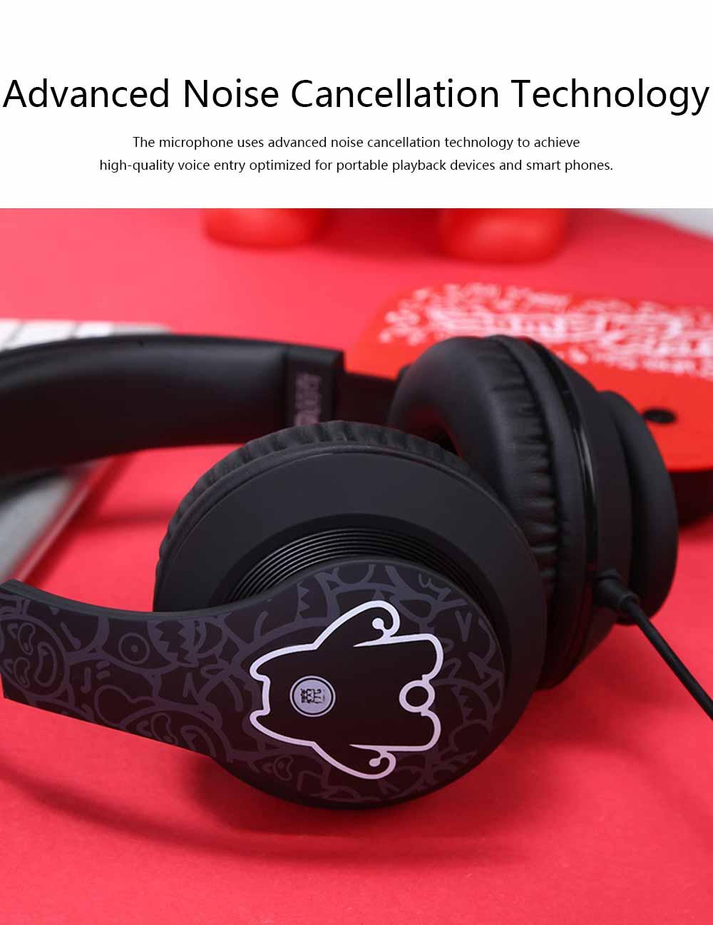 Devil Cat Sound Magic Headphones, Computer Game Music Headphones Subwoofer with Microphone, Bluetooth Earphone 2