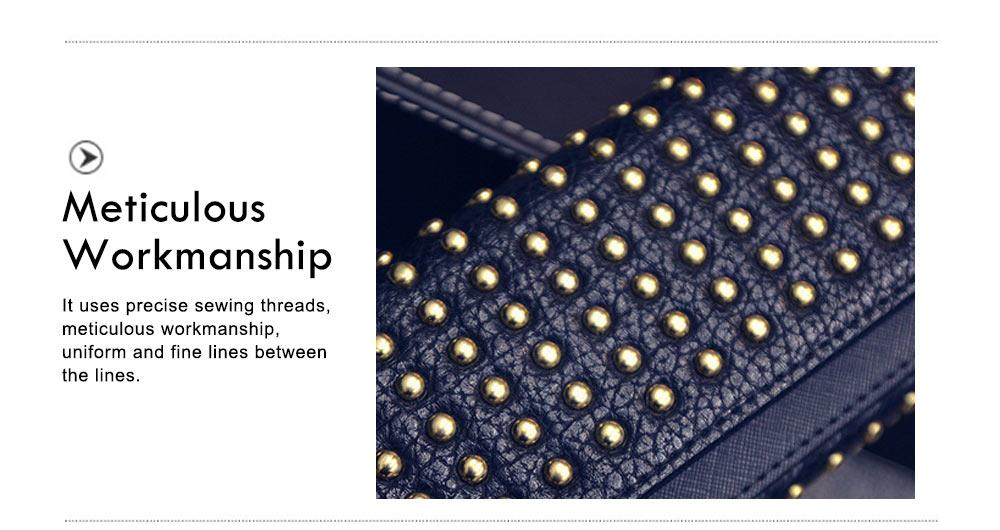 Long Double Cover Clutch, New Fashion Women wallet,European and American Pop Pun Style Rivet Handbag 3