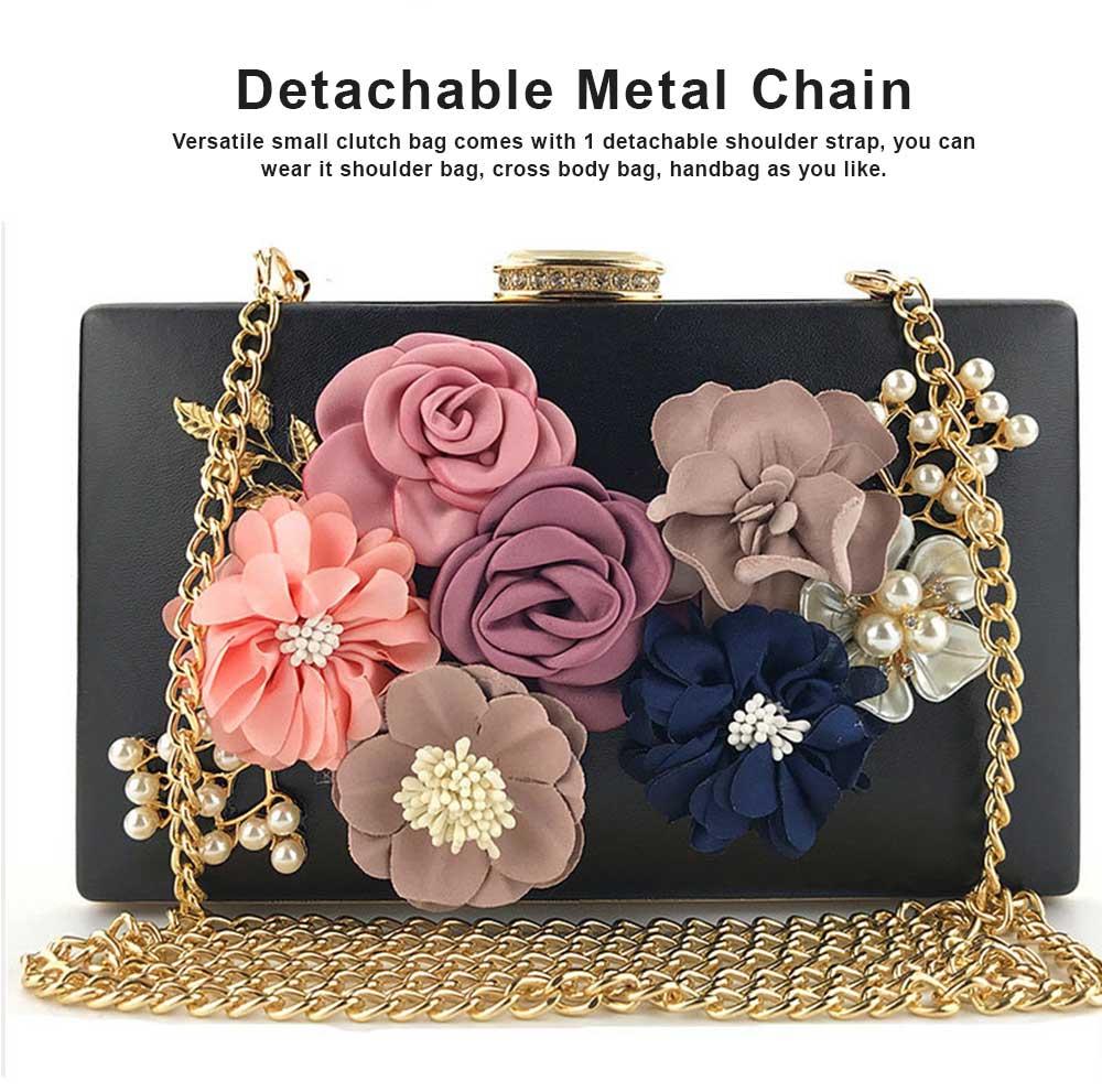 Ladies Shoulder Chain Floral Bag Ladies Evening Leather Clutch Bag 4