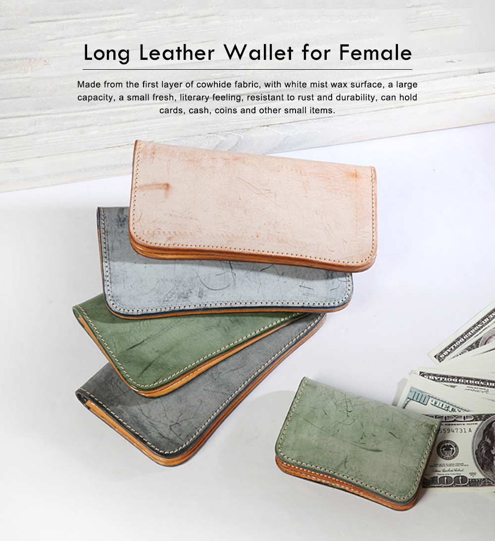 New Long Leather Cutch Fashion Vegetable Tanned Wallet for Ladies, New Handmade Suede Leather Wallet 0