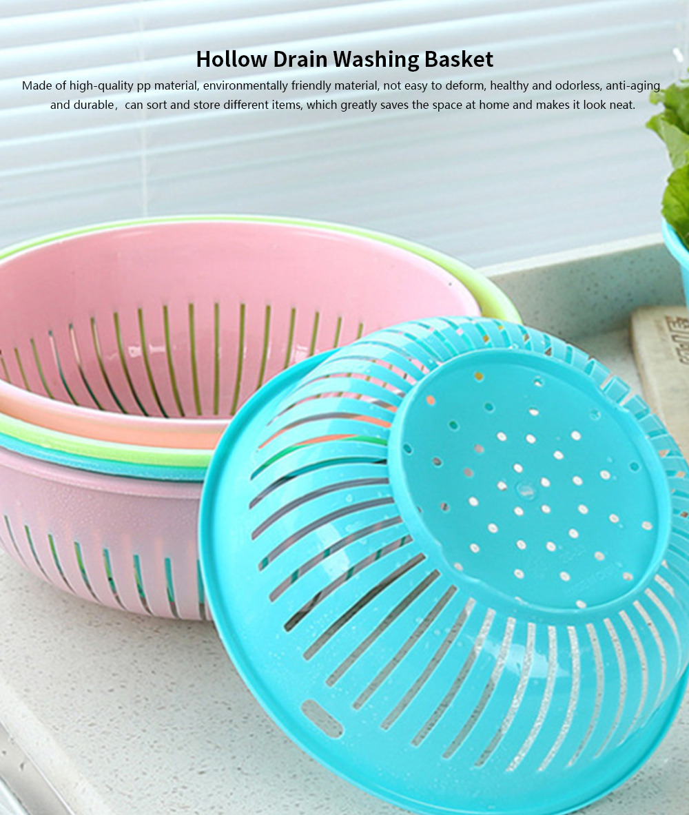 Hollow Drain Washing Basket, Round Plastic Basket Kitchen Sink Fruit Basket, Vegetable and Fruit Drain Basket Storage Basket 0