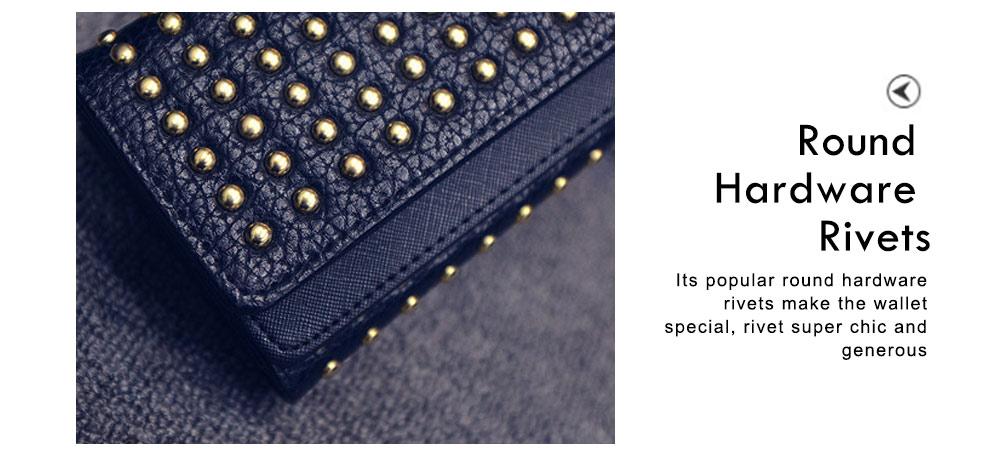 Long Double Cover Clutch, New Fashion Women wallet,European and American Pop Pun Style Rivet Handbag 4