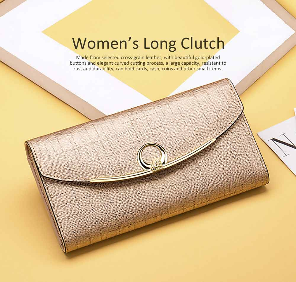 Women's Long Clutch for Shopping Dating Party, Korean Large Capacity Female Wallet, Imported Vegetable Tanned Cowhide Clutch 0