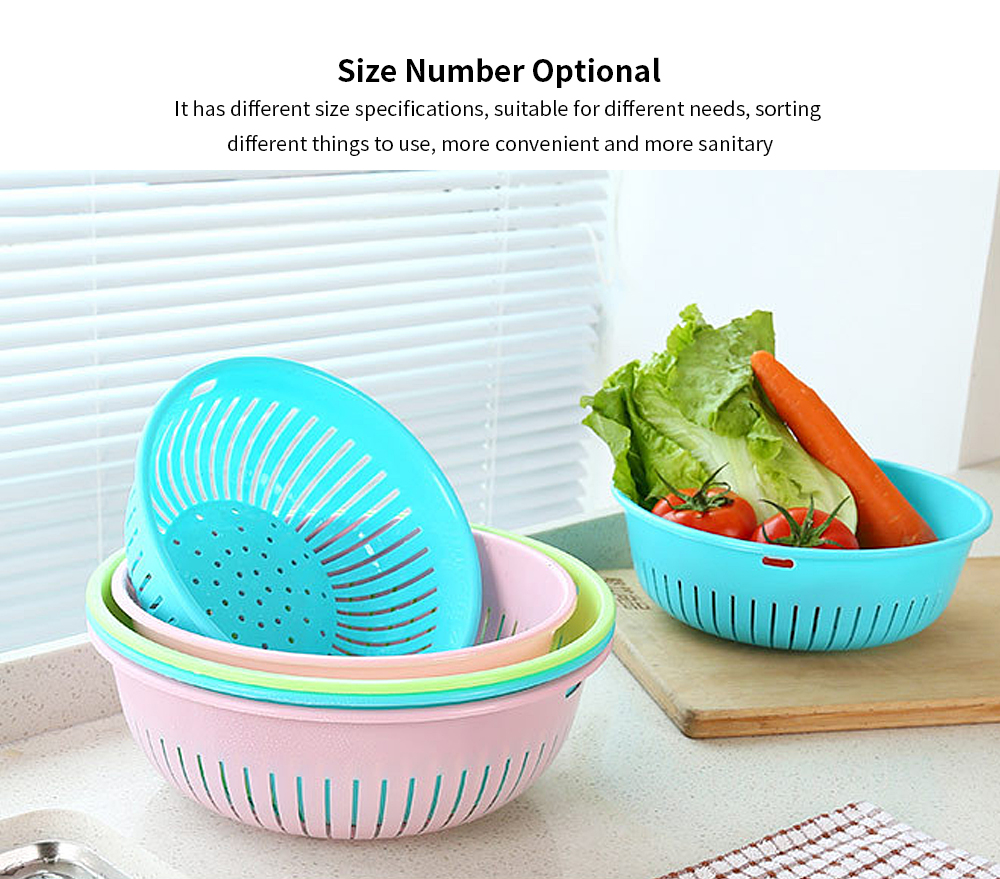 Hollow Drain Washing Basket, Round Plastic Basket Kitchen Sink Fruit Basket, Vegetable and Fruit Drain Basket Storage Basket 3