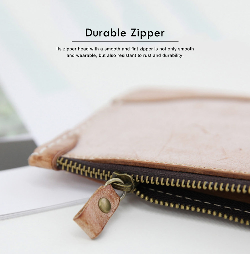 2019 New Long Wallet Vintage Handmade Vegetable Tanned Ladies Clutch, Real Leather Fog Wax Wallet 3