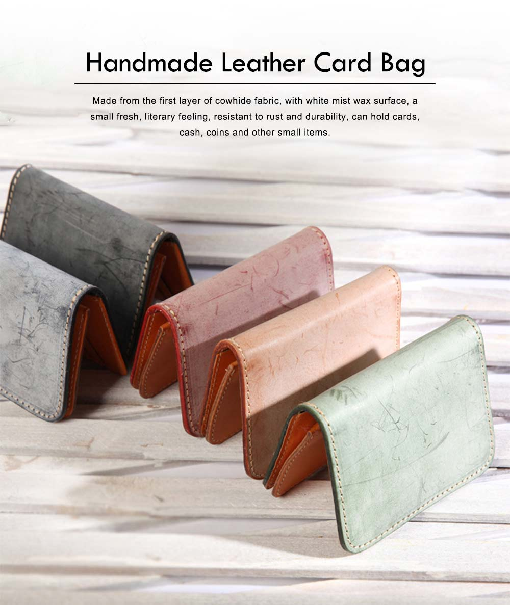 2019 New Vegetable Tanned Leather Card Bag, Japanese Style Female Coin Purse, Handmade Leather Card Holder 0