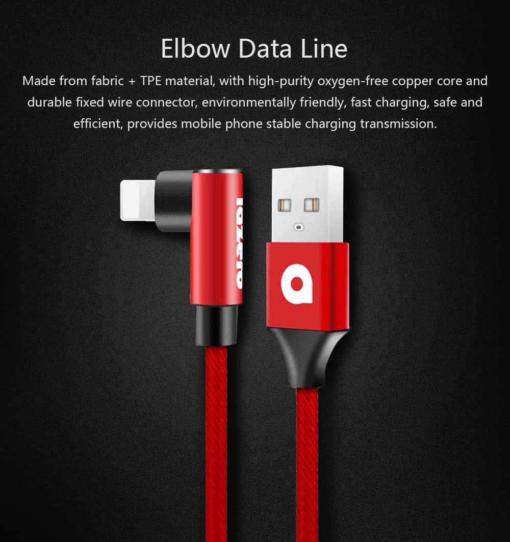 Elbow Data Line 2.4A Apple Iphone 6/7/8 X Android Type-c Fabric Weaving Mobile Phone Data Cable, Mobile Phone Charging Data Cable 0