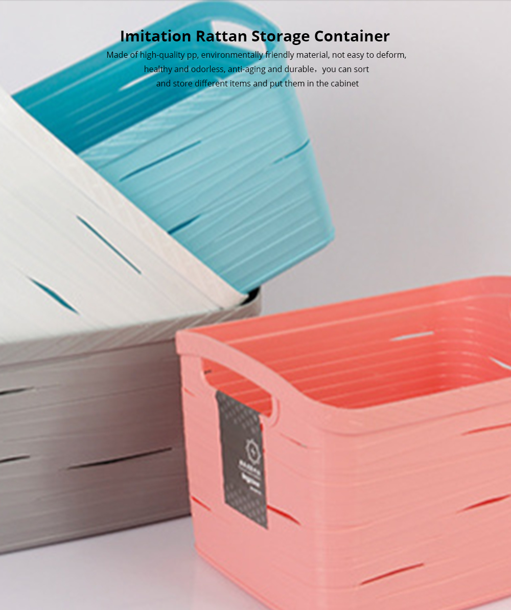 Plastic Storage Basket Square Plastic Storage Basket Laundry Basket Toy Basket Imitation Rattan Storage Container 0