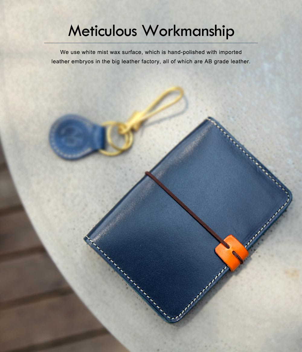 Handmade Genuine Leather Wallet, Female Multifunctional Bag with Passport, ID Holder, Leather Cowhide Passport Bag 1