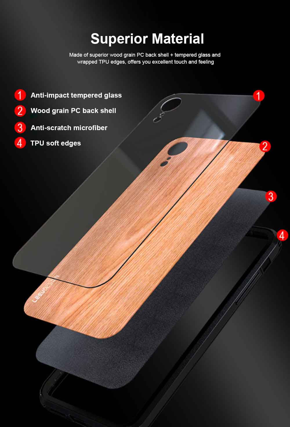 Wood Grain with Tempered Glass Phone Case Compatible for iPhone X/XS/MAX/7/8/7P/8P, Anti-impact Tempered Glass Phone Case Wood Grain Protective Phone Cover 1