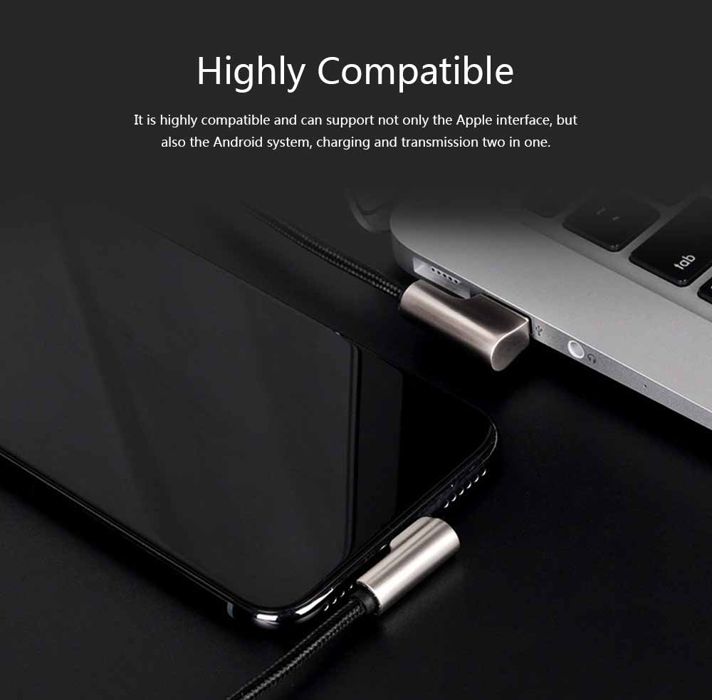 Zinc Alloy Double Elbow Data Cable, iPhone 8 Apple X Mobile Phone Charging Cable Mobile Phone Charging Data Cable 2