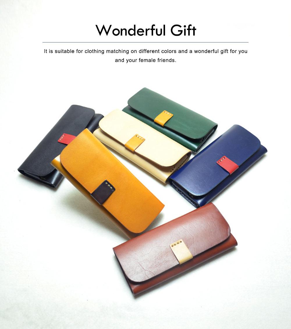 Handmade Leather Japanese Glasses Bag, Vegetable Tanned Leather Glasses Case, Hit Color Leather Glasses Bag 3