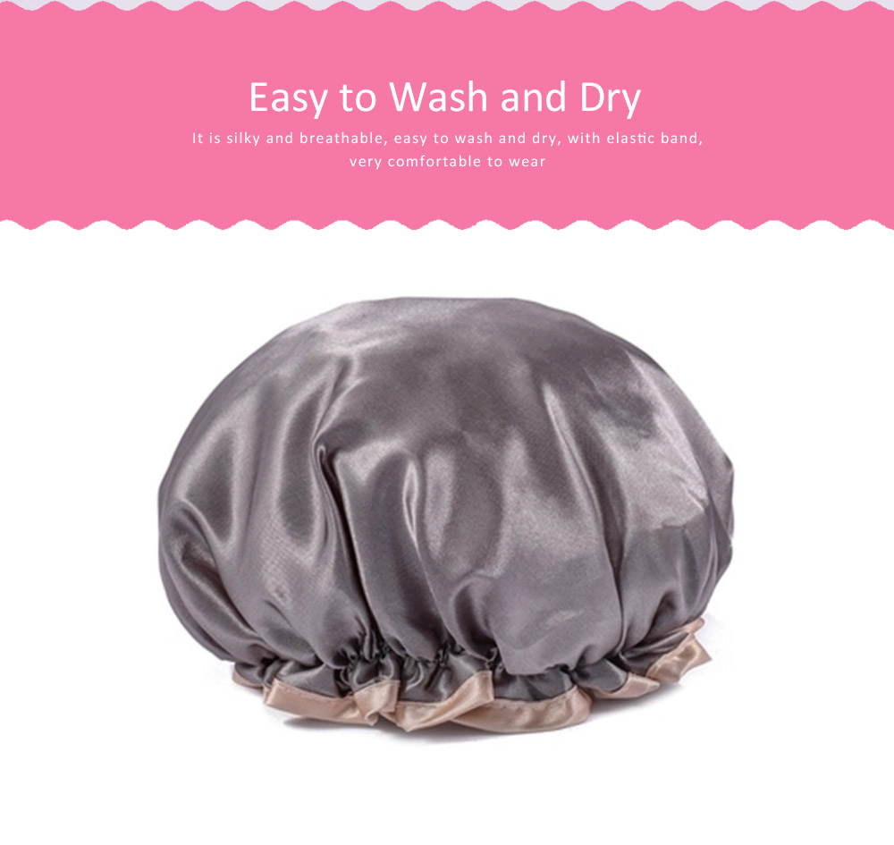 Waterproof Shower Cap Adult Women's Kitchen Anti-dust Cap, Long Hair Thicken Cute Shower Cap, Bathing Shower Hat 4