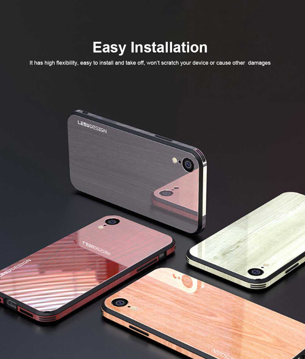 Wood Grain with Tempered Glass Phone Case Compatible for iPhone X/XS/MAX/7/8/7P/8P, Anti-impact Tempered Glass Phone Case Wood Grain Protective Phone Cover 4