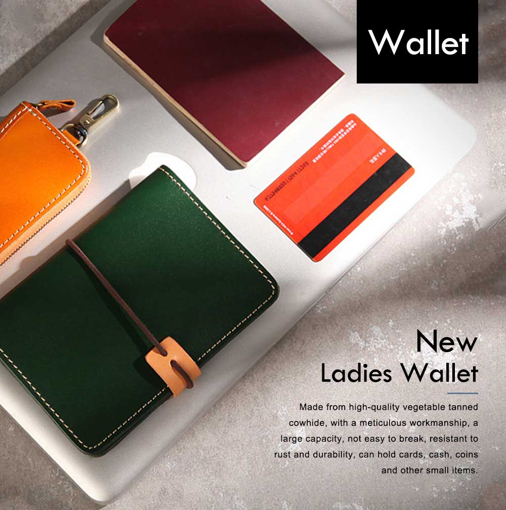 Handmade Genuine Leather Wallet, Female Multifunctional Bag with Passport, ID Holder, Leather Cowhide Passport Bag 0