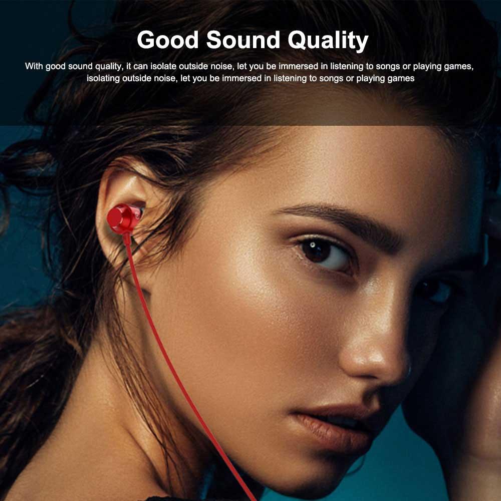 Metal In-ear Earphones Heavy Bass Magic Sound Mobile Phone Computer Universal Headphones, Sports Magnetic Suction Ear Metal Bluetooth Headset 5