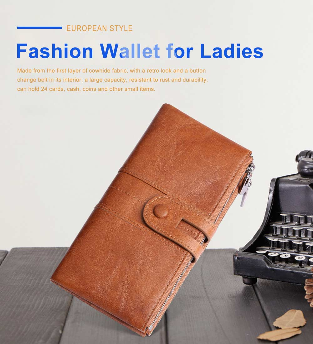 Vintage Double Zipper Long Wallet, Fashion Wallet for Ladies,High-quality First Layer of Cowhide Leather Clutch 0