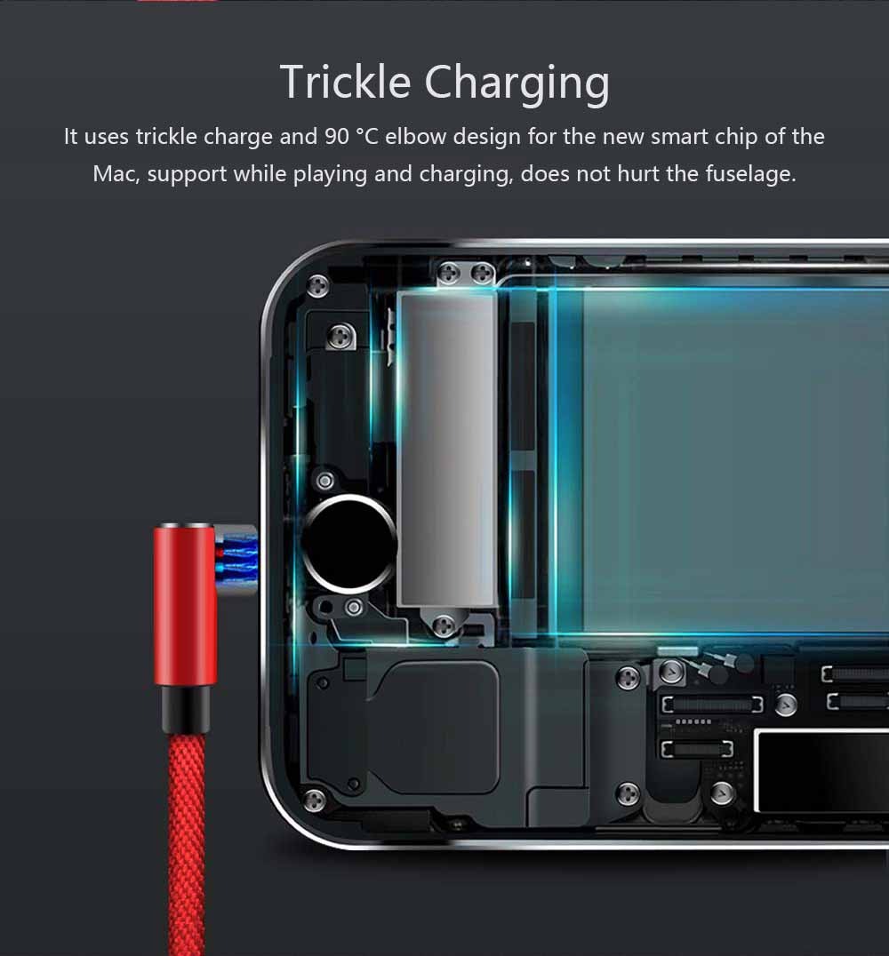 Elbow Data Line 2.4A Apple Iphone 6/7/8 X Android Type-c Fabric Weaving Mobile Phone Data Cable, Mobile Phone Charging Data Cable 6