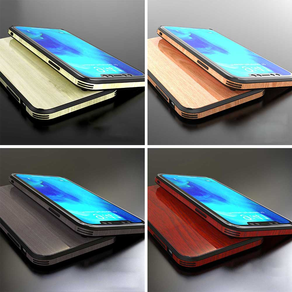 Wood Grain with Tempered Glass Phone Case Compatible for iPhone X/XS/MAX/7/8/7P/8P, Anti-impact Tempered Glass Phone Case Wood Grain Protective Phone Cover 8