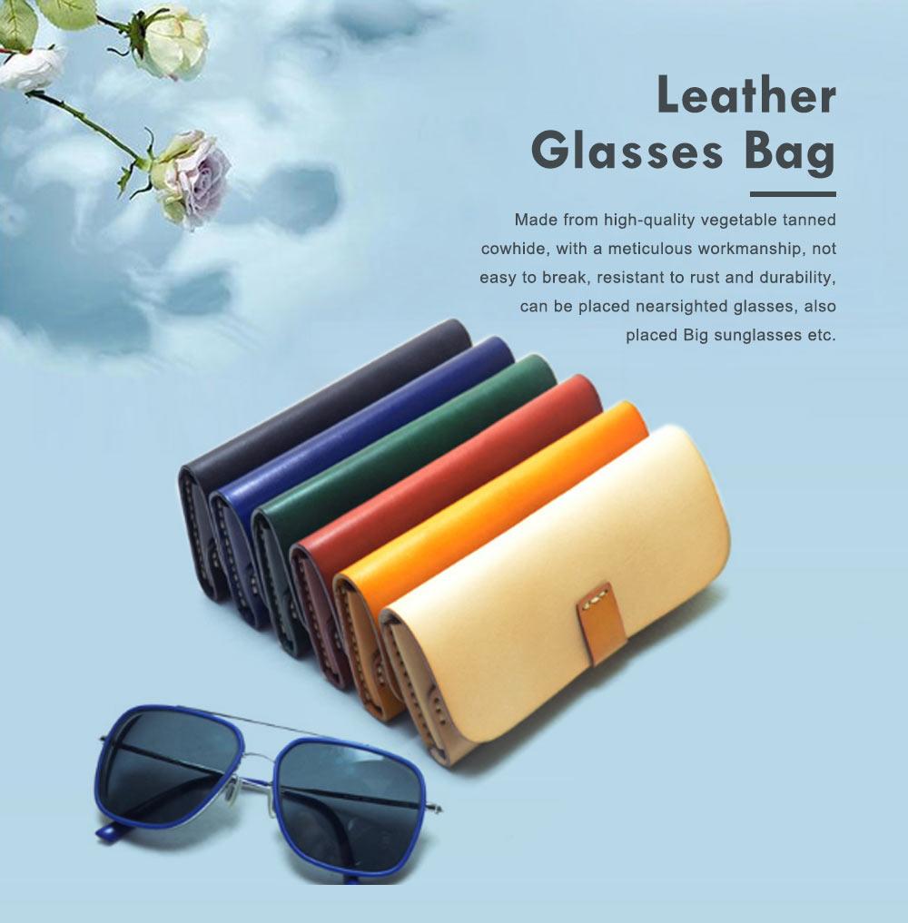 Handmade Leather Japanese Glasses Bag, Vegetable Tanned Leather Glasses Case, Hit Color Leather Glasses Bag 0