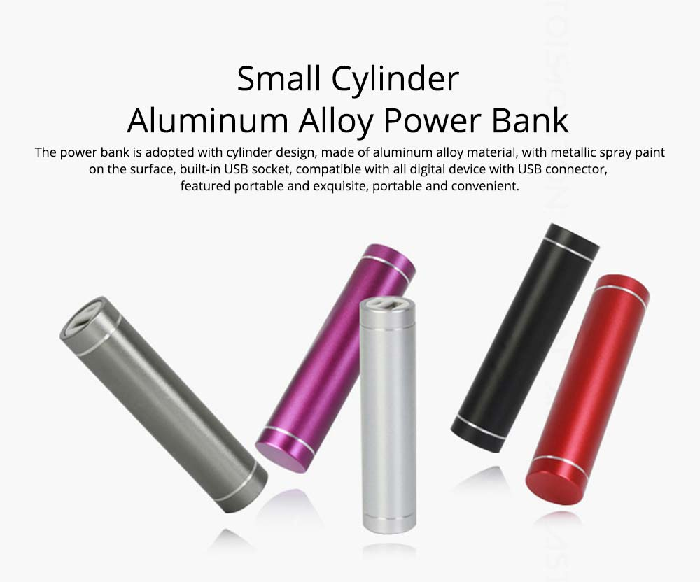 Exquisite Phone Charging Aluminum Alloy Cylinder Portable External Battery Charger USB Socket Power Bank for Cell Phone 0
