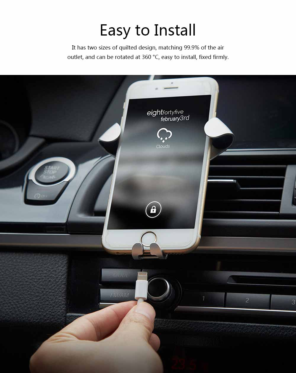 Car Lazy Bracket Phone Holder, Multi-function Creative Metal Car Navigation Universal Outlet Holder 4
