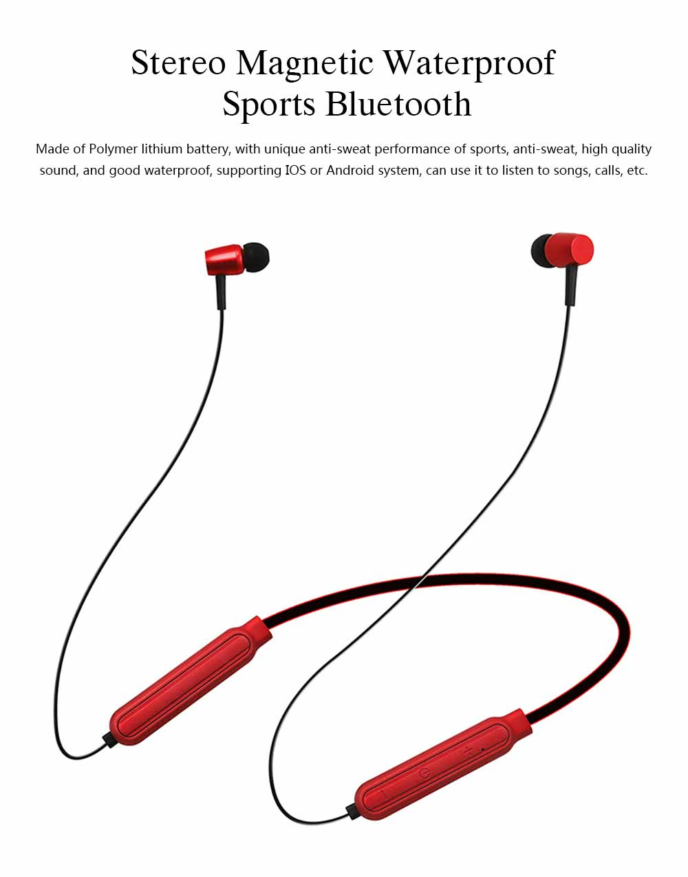Wireless Bluetooth Headset In-ear Earphone, Stereo Magnetic Waterproof Sports Bluetooth Headset 0