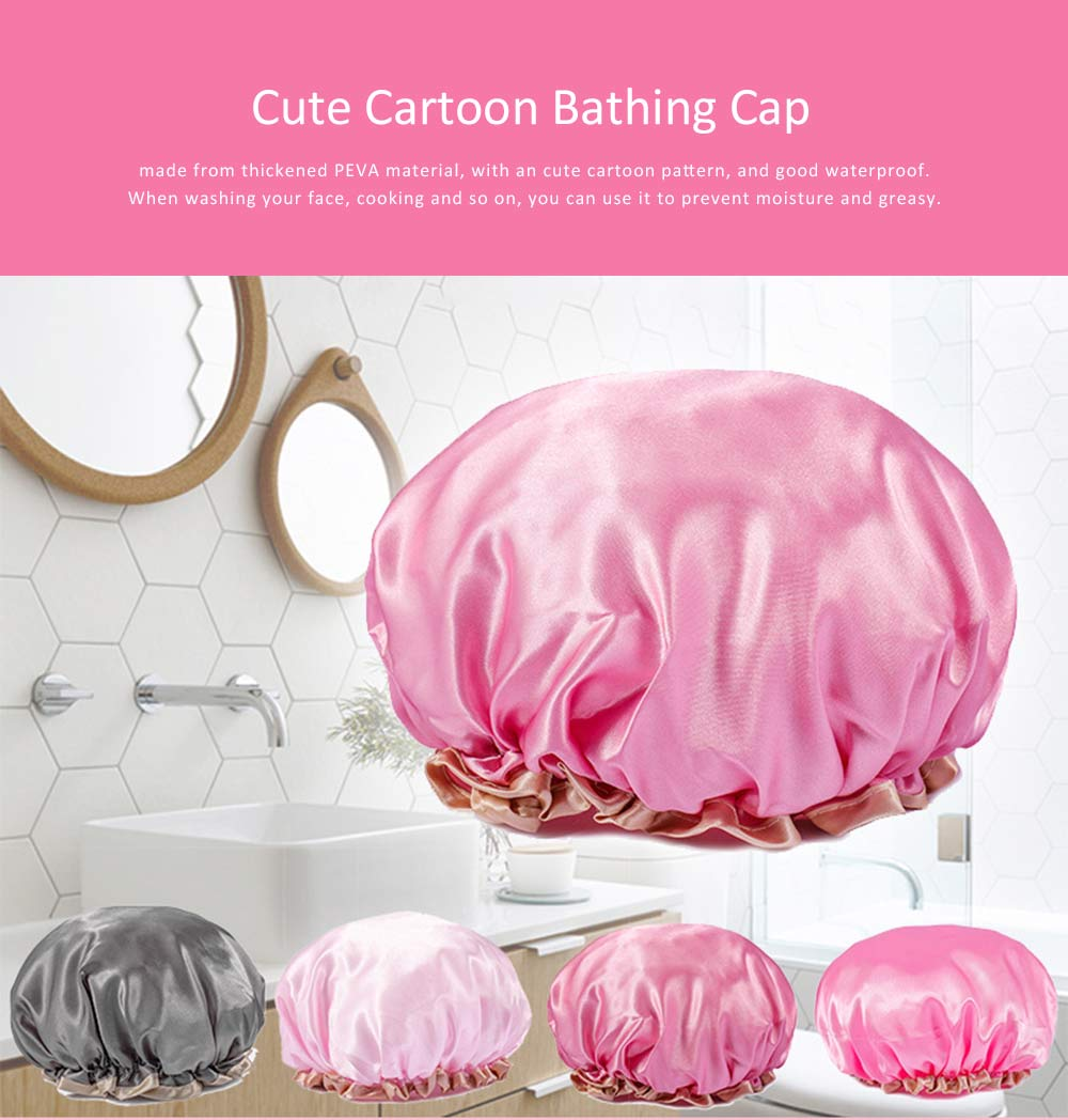 Waterproof Shower Cap Adult Women's Kitchen Anti-dust Cap, Long Hair Thicken Cute Shower Cap, Bathing Shower Hat 0