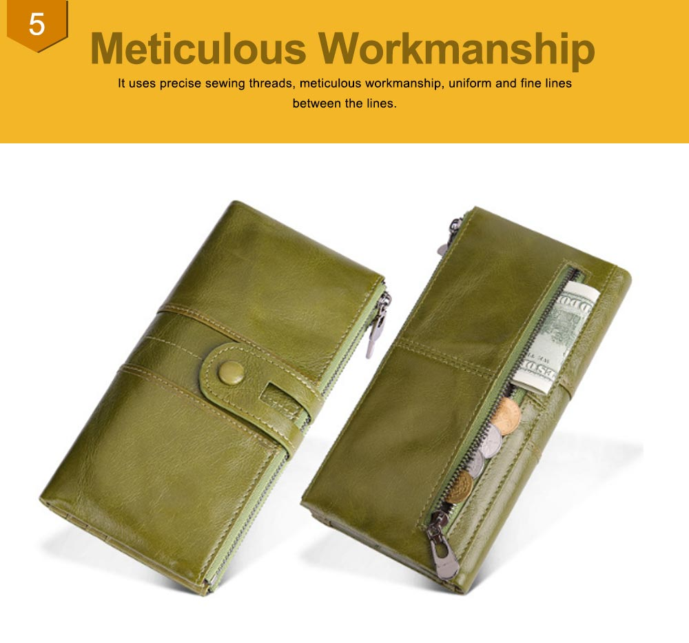 Vintage Double Zipper Long Wallet, Fashion Wallet for Ladies,High-quality First Layer of Cowhide Leather Clutch 6