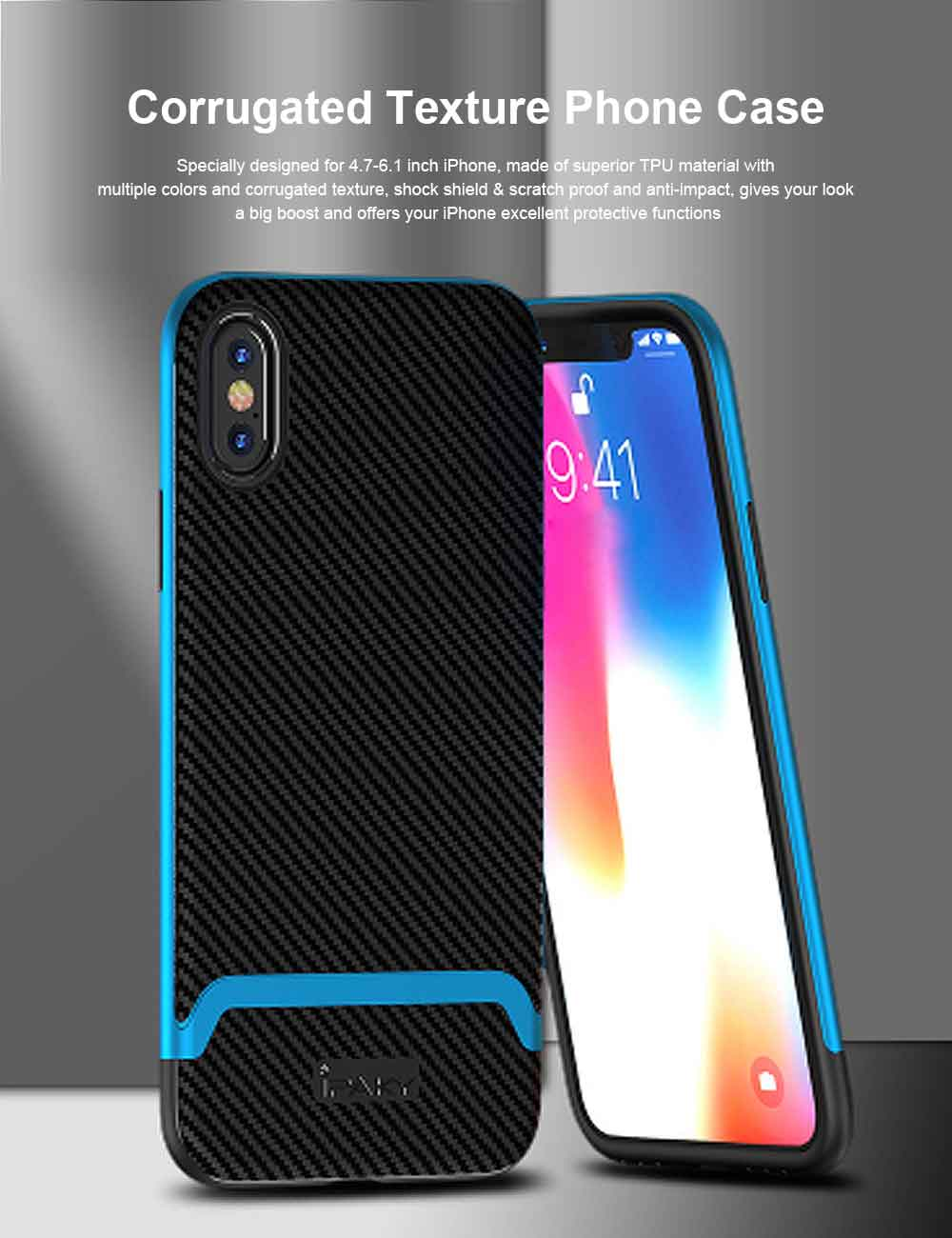 Corrugated Texture Phone Case Compatible for iPhone X/XS/Max, Anti-scratch Protective Cover for Apple iPhone 5.8-6.5 inch Universal Phone Cover 0