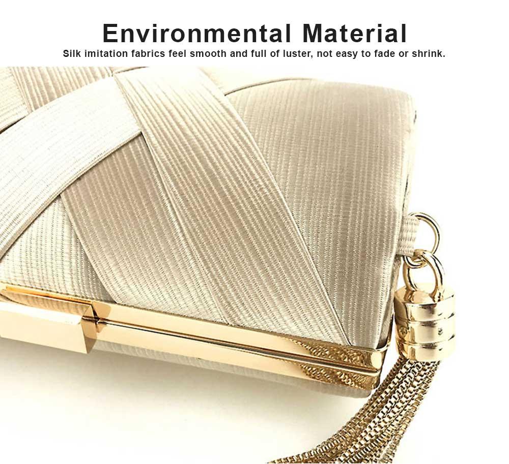 Sateen Tassel Bag for Women Evening Bag Lady's Bridal Dinner Bag 1