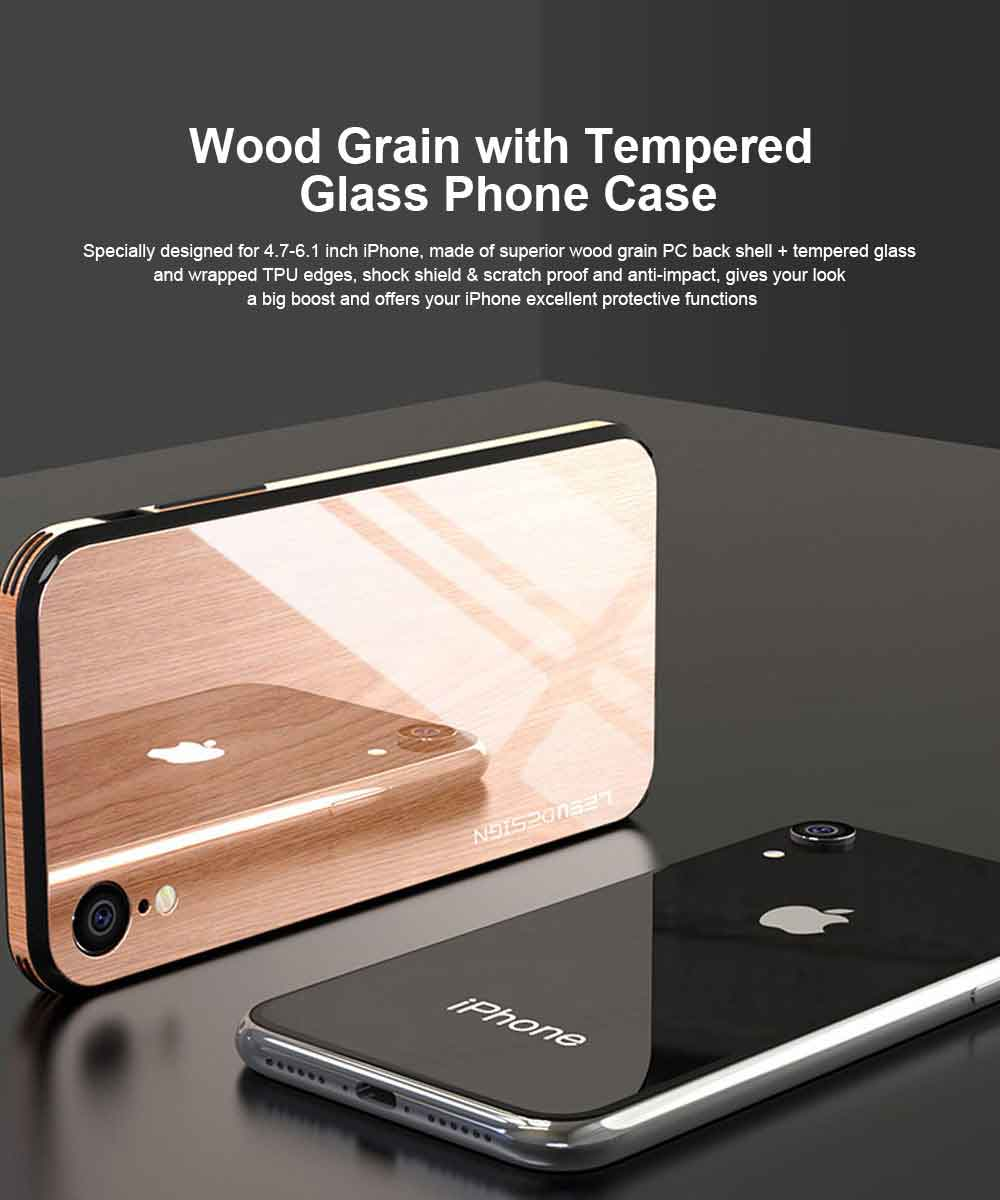 Wood Grain with Tempered Glass Phone Case Compatible for iPhone X/XS/MAX/7/8/7P/8P, Anti-impact Tempered Glass Phone Case Wood Grain Protective Phone Cover 0