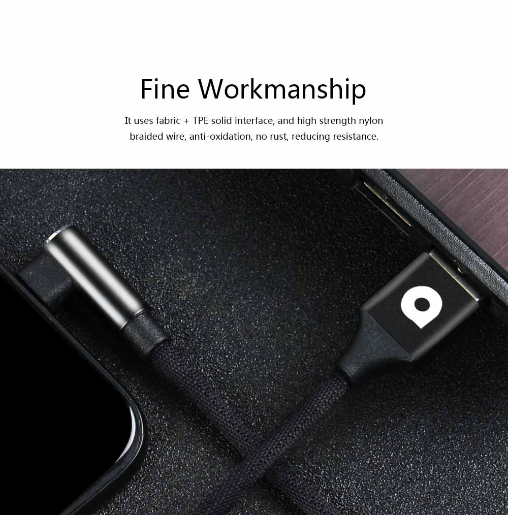 Elbow Data Line 2.4A iPhone 6/7/8 X Android Type-c Fabric Weaving Mobile Phone Data Cable 3