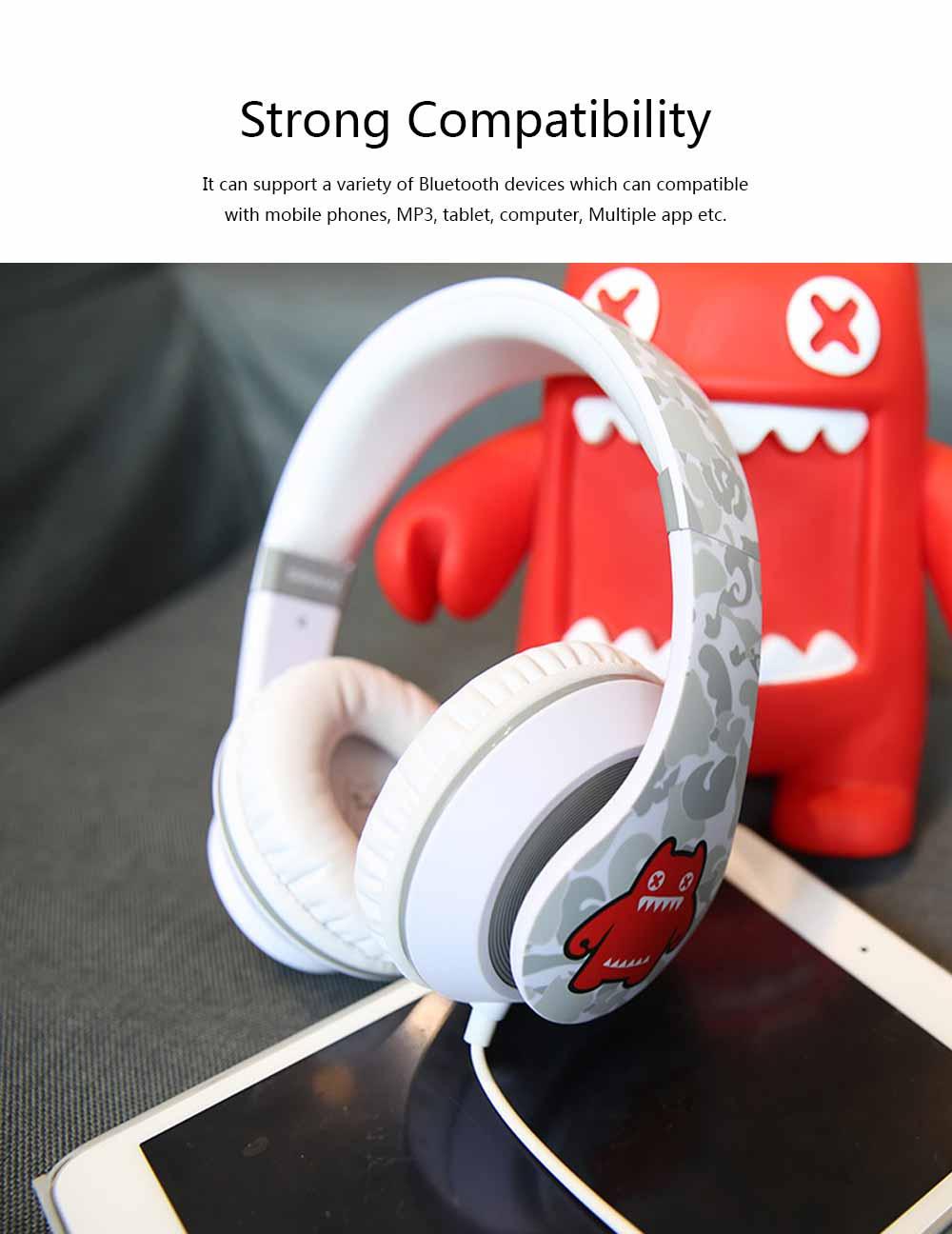Devil Cat Sound Magic Headphones, Computer Game Music Headphones Subwoofer with Microphone, Bluetooth Earphone 3