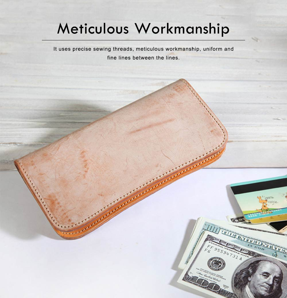 New Long Leather Cutch Fashion Vegetable Tanned Wallet for Ladies, New Handmade Suede Leather Wallet 4