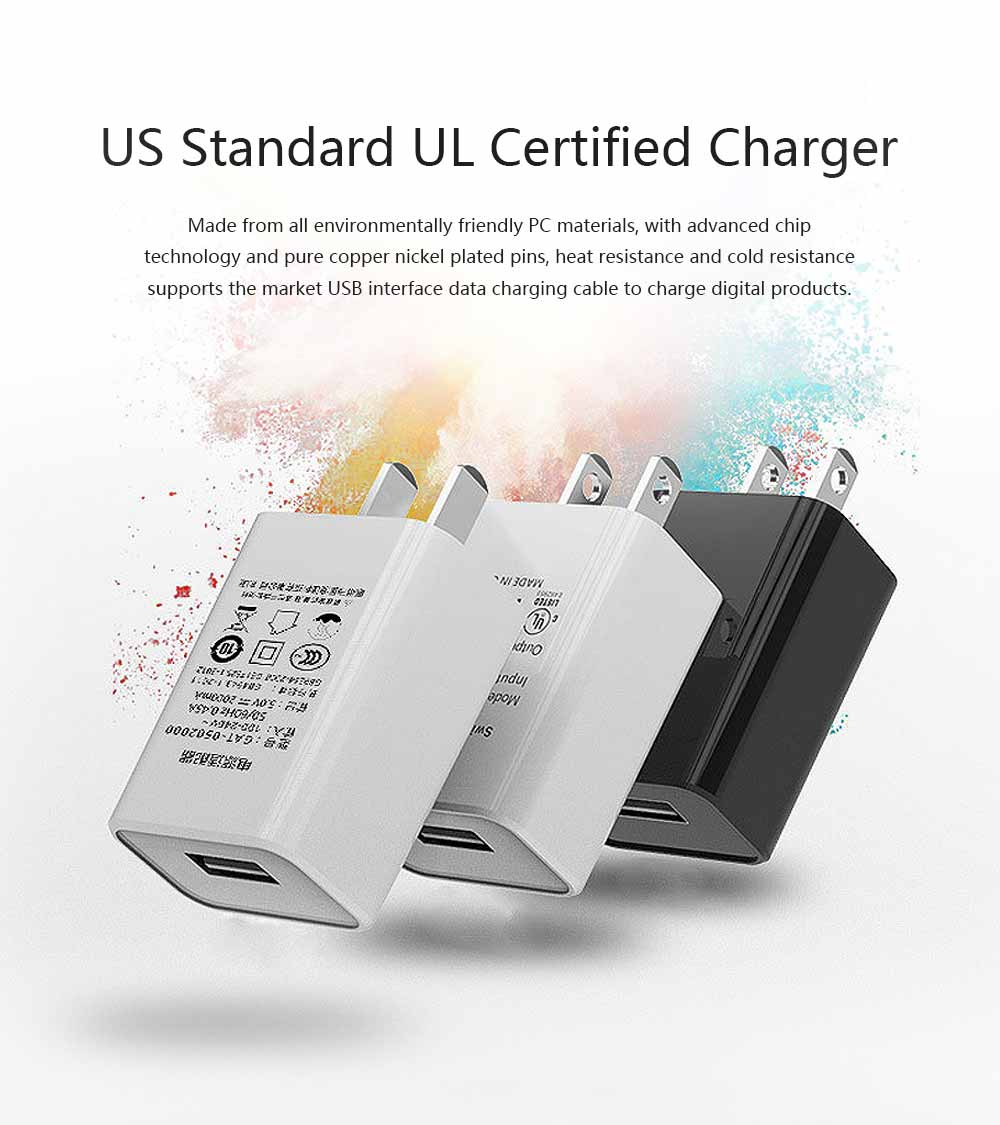 US Standard UL Certified Charger, 5V 1A for Millet Universal USB Charging Head, High Quality UL Adapter Charger 0