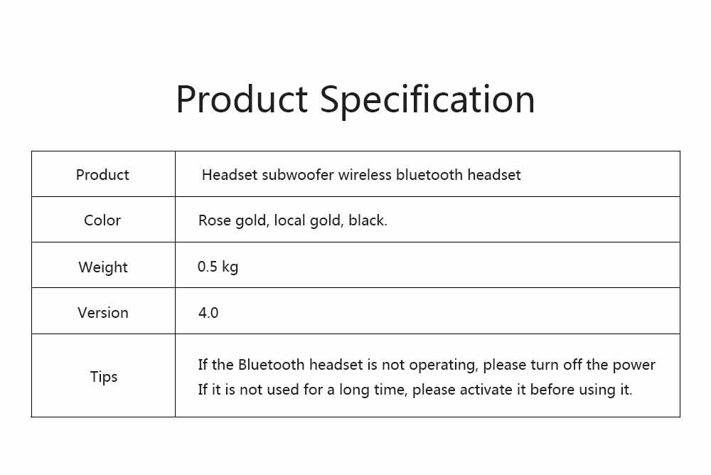 Headset Subwoofer Wireless Bluetooth Headphones Smart Stereo Sports Phone Headset, Universal Mini Headset Gaming Bluetooth Earphone 5