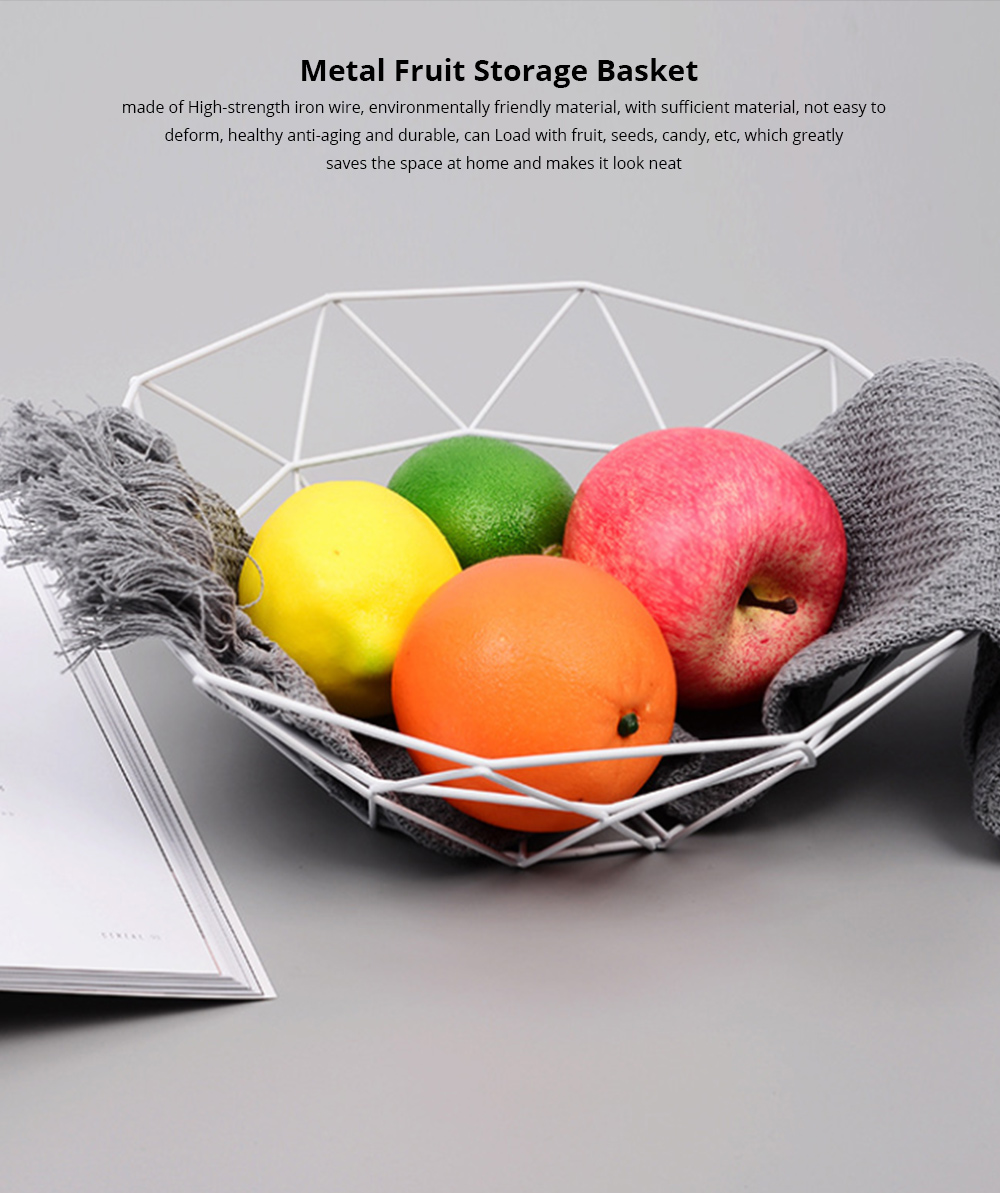 Metal Fruit Storage Basket, Iron Fruit Bowl, Nordic Home Storage Products Snack Storage Basket, Metal Household Organizer Basket 0