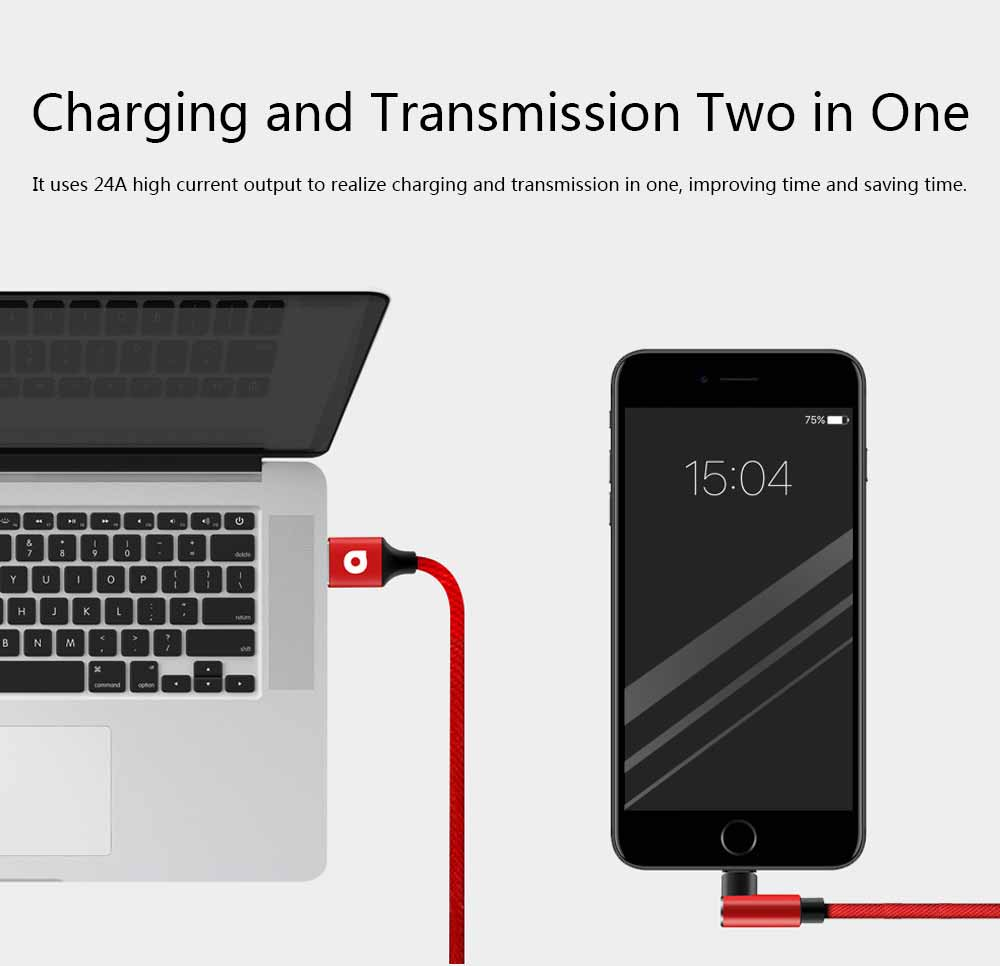 Elbow Data Line 2.4A iPhone 6/7/8 X Android Type-c Fabric Weaving Mobile Phone Data Cable 5
