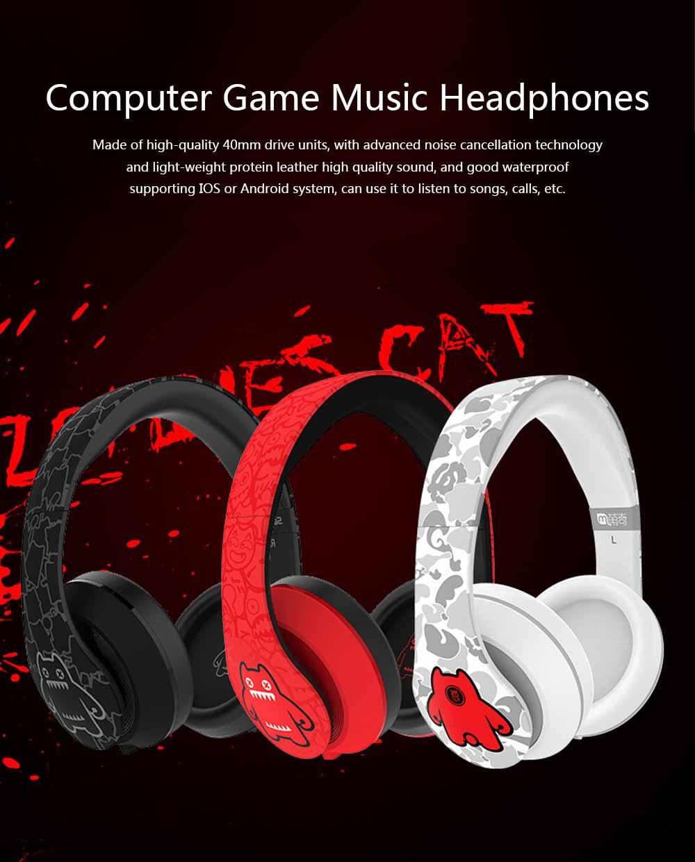 Devil Cat Sound Magic Headphones, Computer Game Music Headphones Subwoofer with Microphone, Bluetooth Earphone 0