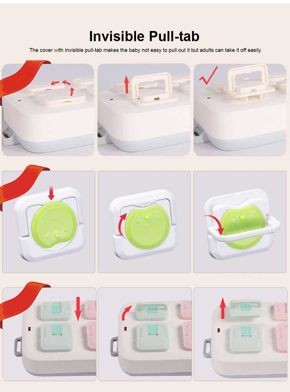 Baby Safety Socket Cover, ABS Electric Shock Resistance Outlet Hard Shell, Universal Pop Socket Cover, Electric-Shock Safeguard Outlet Cover 6 Packs 3