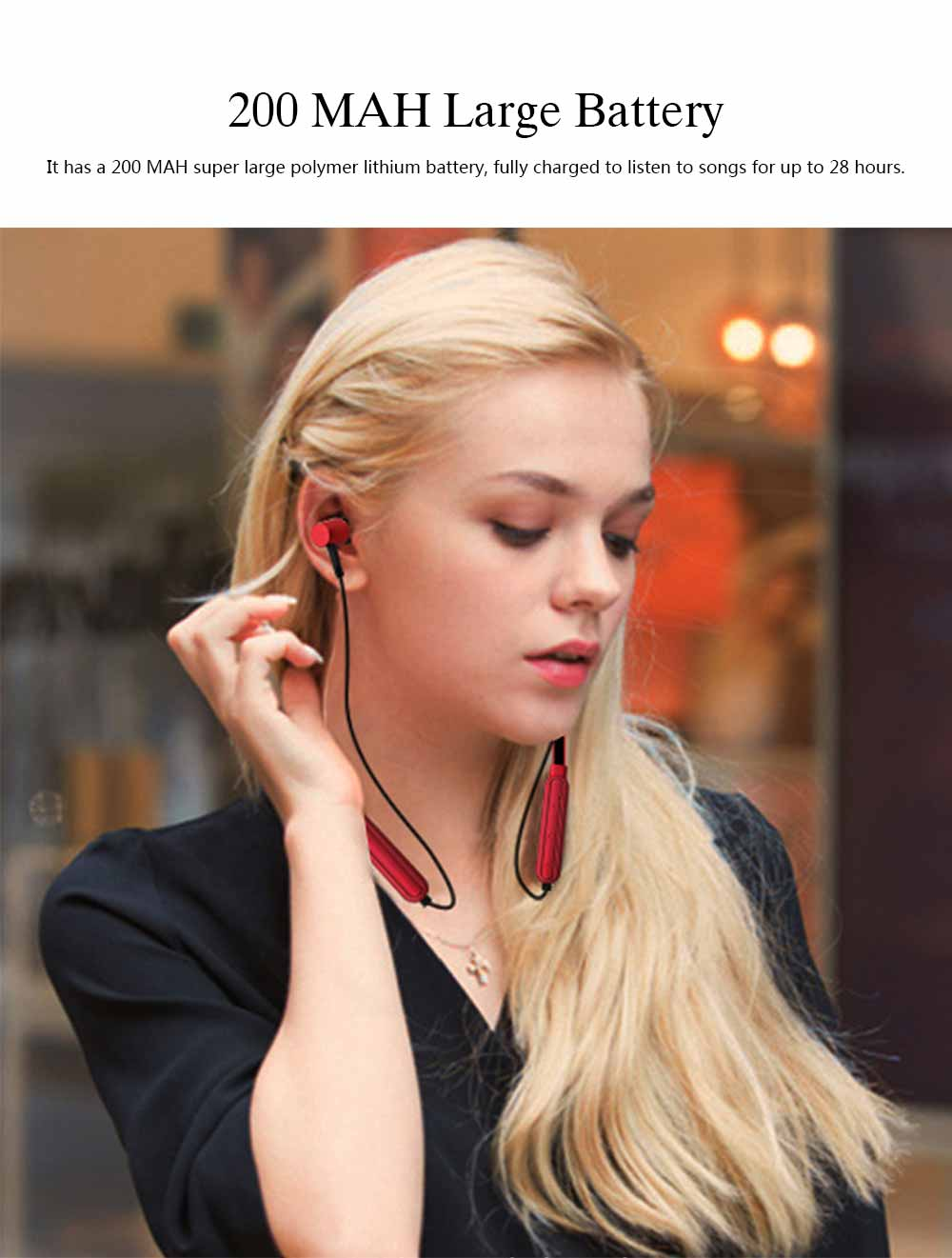 Wireless Bluetooth Headset In-ear Earphone, Stereo Magnetic Waterproof Sports Bluetooth Headset 2
