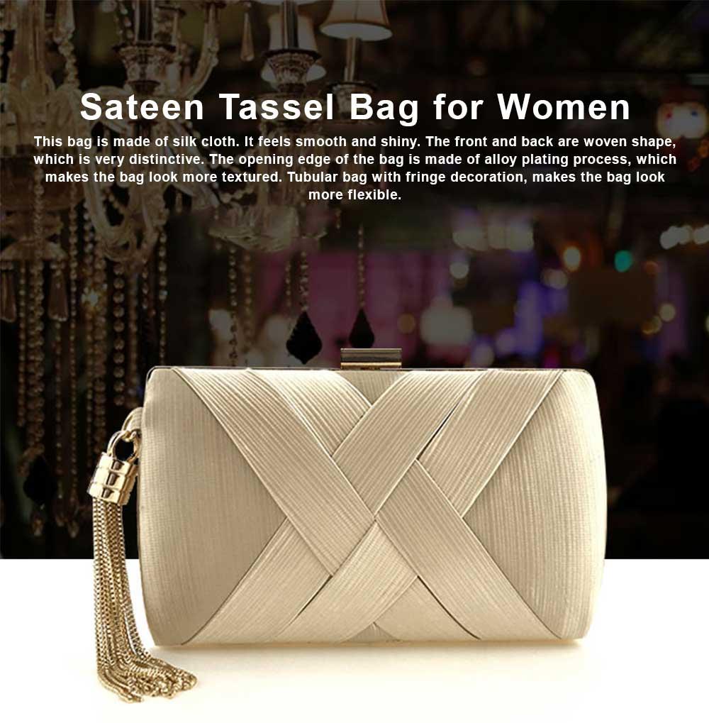 Sateen Tassel Bag for Women Evening Bag Lady's Bridal Dinner Bag 0