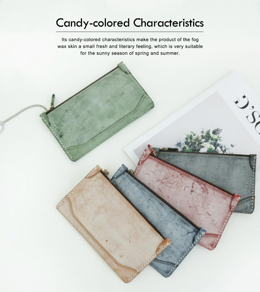 2019 New Long Wallet Vintage Handmade Vegetable Tanned Ladies Clutch, Real Leather Fog Wax Wallet 4